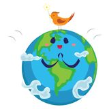 Earth day, happy planet surrounded by clouds looks at bird, ecology world concept , green and blue globe protection. Global eco save nature vector illustration Stock Images