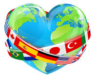 Earth Day Heart With Flags Stock Image