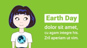Earth Day Holiday Concept Young Girl Wearing T-Shirts With Globe Image Royalty Free Stock Photography