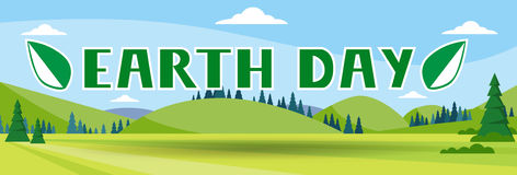 Earth Day Holiday Nature Summer Landscape Banner Flat Vector Illustration Stock Images