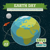 Earth day holiday poster. In flat design with space background Royalty Free Stock Photos
