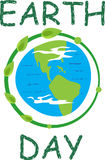 Earth Day Icon. Earth icon and the word earth day in green. Eps10 Royalty Free Stock Photos
