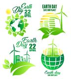 Earth Day icon for ecology and environment design Royalty Free Stock Photo
