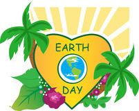 Earth Day. Earth icon inside a heart shape, and nature around it. Eps10 Stock Image