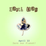 Earth day illustration with leave and earth inside. Earth Day illustration banner design Save our planet Stock Photo