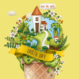 Earth day illustration. With manor and countless plants on ice cream, light yellow background Stock Photos
