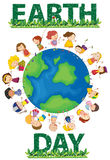 Earth day. Illustration of earth day poster and kids Royalty Free Stock Image