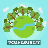 Earth day illustration Vector Art Logo Template and Illustration Stock Photo