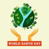 Earth day illustration Vector Art Logo Template and Illustration Royalty Free Stock Photo