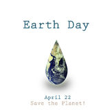 Earth day illustration with water drop an earth inside Royalty Free Stock Photo