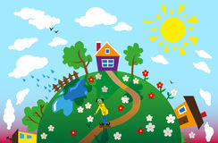Earth and day. Image of the earth at different times of the day with houses and trees Royalty Free Stock Photography