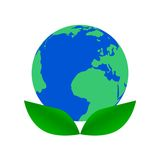 Earth Day Leaf Icon - Illustration. On whiye background Royalty Free Stock Photography