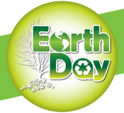 Earth Day Logo Type. Announce Earth Day with this green logo type containing the earth and recycled symbol. This retro-modern illustration is useful in a variety Stock Photography