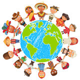 Earth day. Nationalities. Different culture standing together holding hands. Unity children from around the world. Vector illustration. Isolated on white