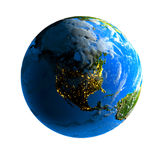 Earth. Day and night. Exaggerated metaphor of the day and night on the globe stock illustration