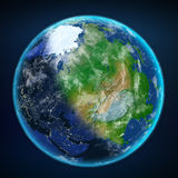 Earth with day and night view. Elements of this image furnished by NASA. 3d illustration Royalty Free Stock Photo