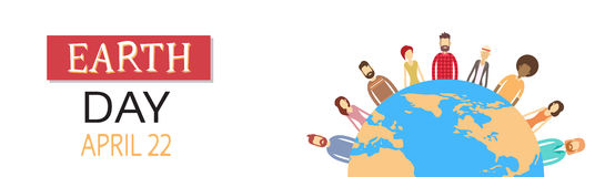Earth Day People Group Stand Around Globe Concept Royalty Free Stock Photo