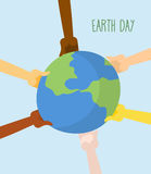 Earth Day. People hands holding Earth. Vector illustration Stock Image