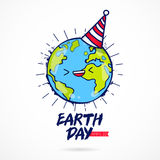 Earth Day. Planet with a celebratory cap Stock Photos