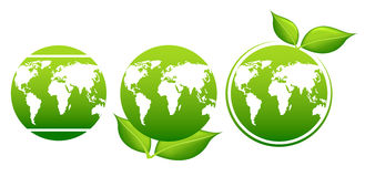 Earth day. Planet and green leaves. World map Royalty Free Stock Images