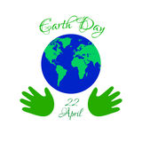 Earth day planet in kids hands. Stock Photos