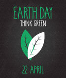 Earth Day poster on black chalkboard. Handwritten text Stock Images