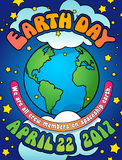 Earth Day poster, card or banner design in 1960s hippie style. Earth Day poster, card or banner design in 1960s psychedelic style Stock Image