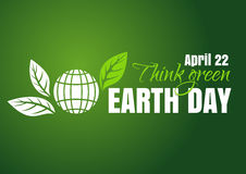 Earth Day poster design. 22 April. Think green Stock Image