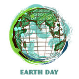 Earth day poster with earth globe. Hand drawn grunge style art. Colorful retro vector illustration. Royalty Free Stock Photo