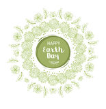 Earth Day Poster. Earth Day Floral Vector Poster Wirh Flowers And Leaves Royalty Free Stock Photos