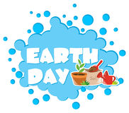 Earth day poster with flower pot. Illustration Royalty Free Stock Photos