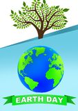 Earth Day poster. With globe and tree vector illustration