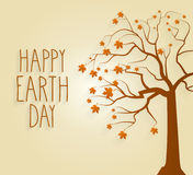 Earth Day poster with tree and handwritten text Royalty Free Stock Image