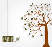 Earth Day poster with tree and hanging handwritten text Stock Photo