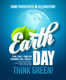 Earth Day poster. Vector illustration with the Earth day lettering, planets and green leaves Royalty Free Stock Image