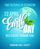 Earth Day poster. Vector illustration with the Earth day lettering, planets and green leaves. EPS10 Stock Photography