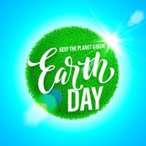 Earth Day poster. Vector illustration of green planet eco. Stock Photography