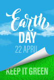 Earth Day poster. Vector illustration of green planet eco. Royalty Free Stock Photo