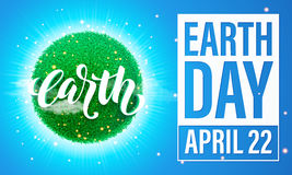 Earth Day poster. Vector illustration of green planet eco. Stock Photo