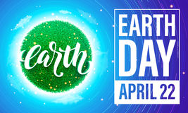 Earth Day poster. Vector illustration of green planet eco. Stock Image
