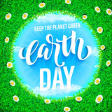 Earth Day poster. Vector illustration of green planet eco. Royalty Free Stock Photography