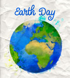 Earth day poster with watercolor globe vector Stock Photography