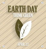 Earth Day poster on wooden background with leafs. Vector illustration Royalty Free Stock Image