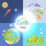 2017 Earth Day Posters Set Traveling to Moon. Mountains and trees icons, clean environment, saving planet clean concept vector illustrations set royalty free illustration