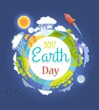 Earth Day 2017 Promotional Poster Illustration. Earth Day 2017 promotional poster with planet, bright sun and blue moon from space view and rocket that flies by royalty free illustration