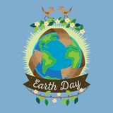 Earth day, recycle symbol around green planet, recycling concept blue globe protection, global eco save nature vector Stock Image