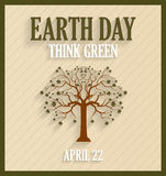 Earth day retro poster with tree. Royalty Free Stock Image