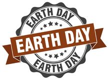 Earth day seal. stamp. Earth day round seal isolated on white background stock illustration