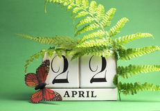 Earth Day, save the date white block calendar, April 22 - green theme.