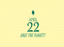 Earth day save the planet illustration april 22 yellow background and leave Royalty Free Stock Image